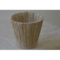 Übertopf Holzoptik weiß klein