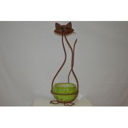 Eisen Katze mit Keramikübertopf grün