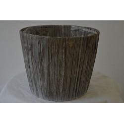 Übertopf Holzoptik grau groß